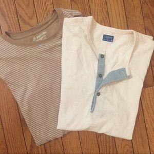 J Crew 1/4 Button & St. John's Bay Striped Shirts